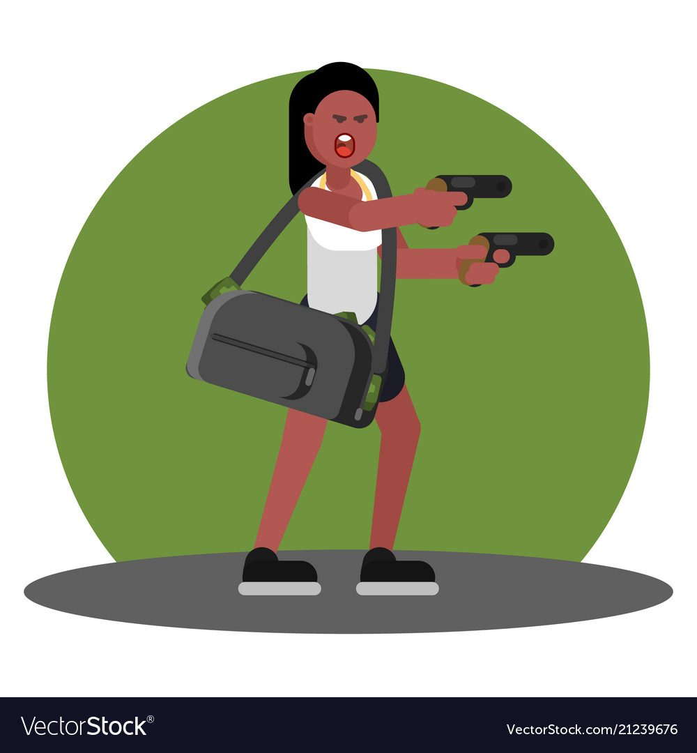 Woman with gun and a bag of cash