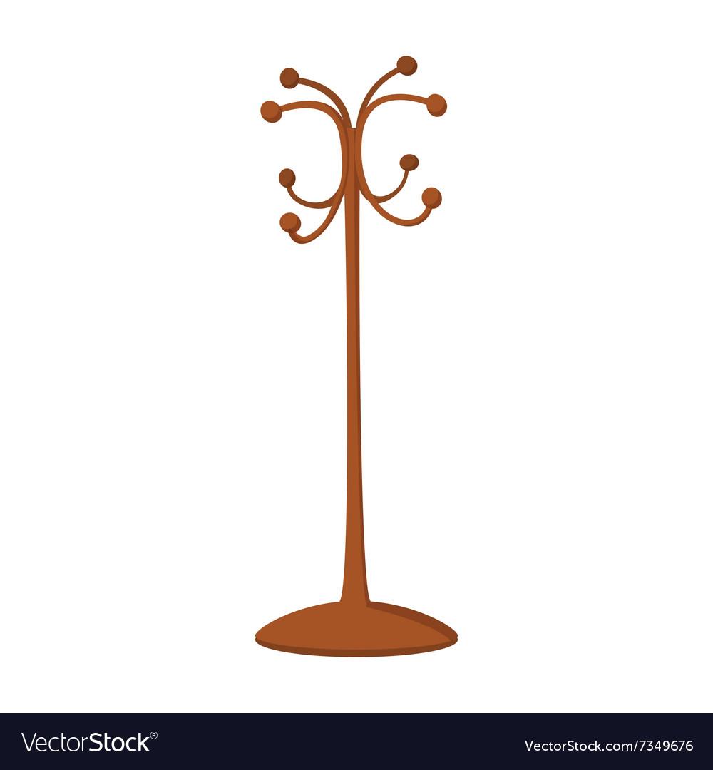 Wooden coat rack cartoon icon