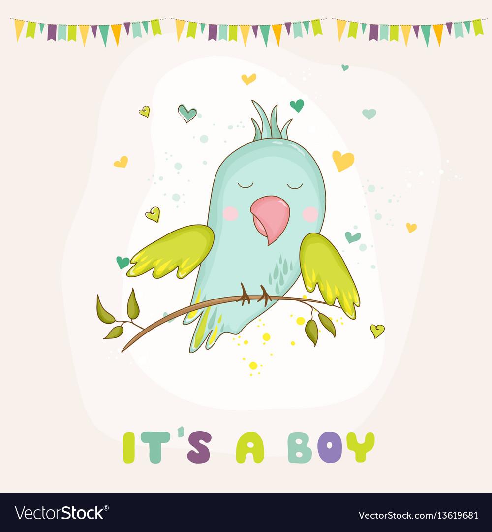 Baby shower card parrot boy sitting on brunch
