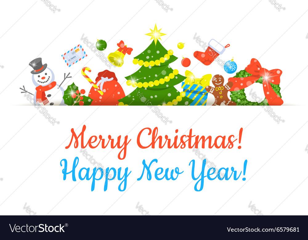 Christmas Symbols Background Horizontal Header Vector Image