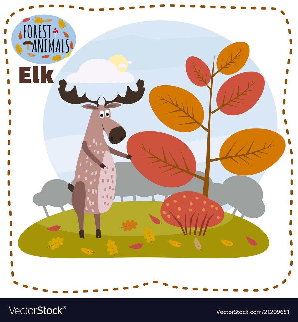 Cute cartoon elk on background landscape forest