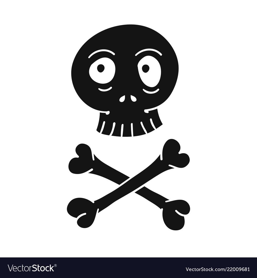 Doodle cartoon skull and crossbones pirate sign