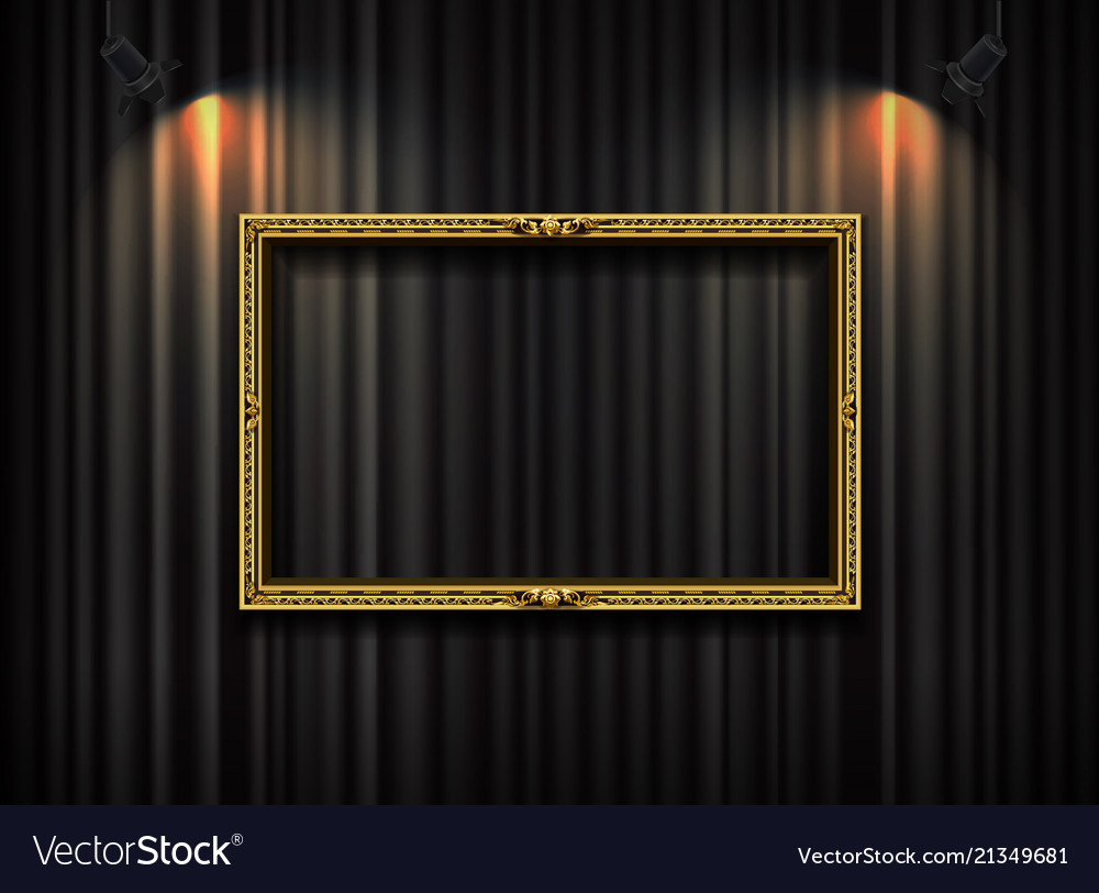 Gold frame with spotlight on curtain background