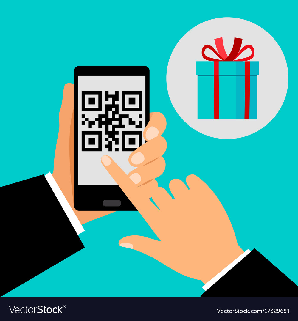 Hand holding smartphone with qr code