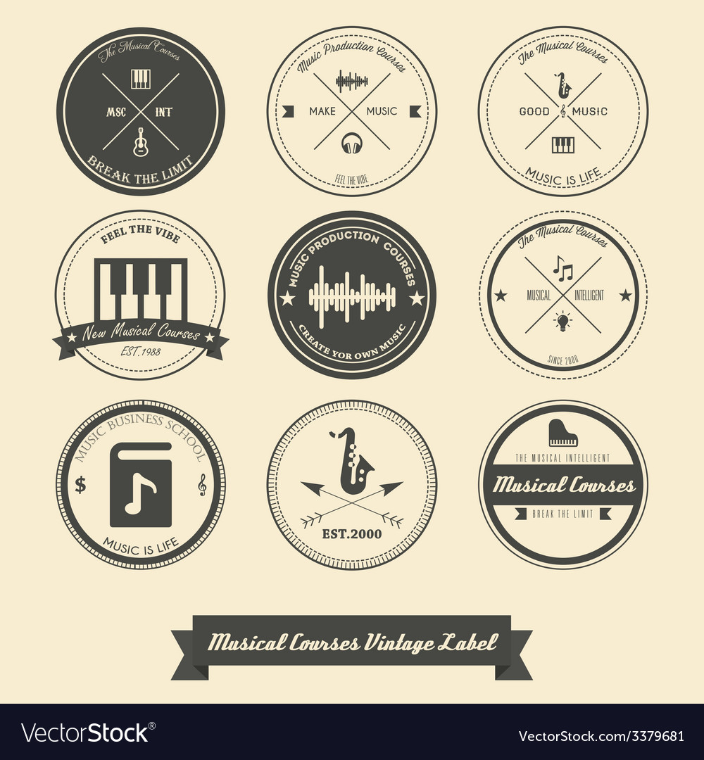 Musical course vintage label vector