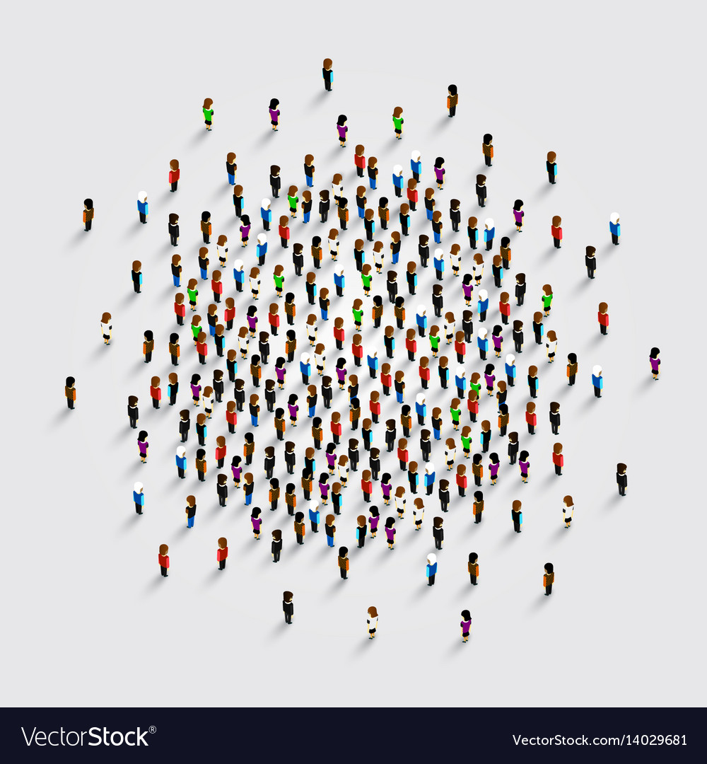 People in the shape of circle vector image