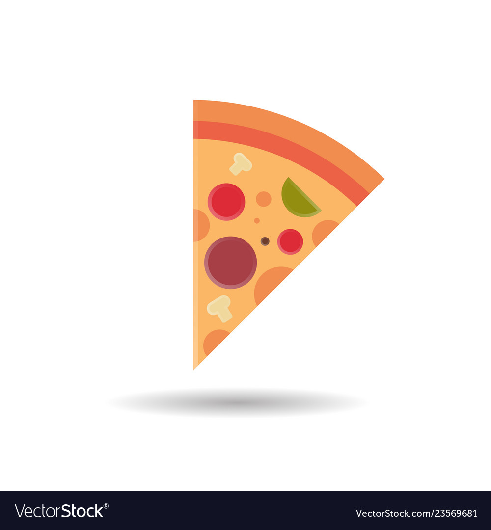 Pizza slice icon fast food concept isolated over