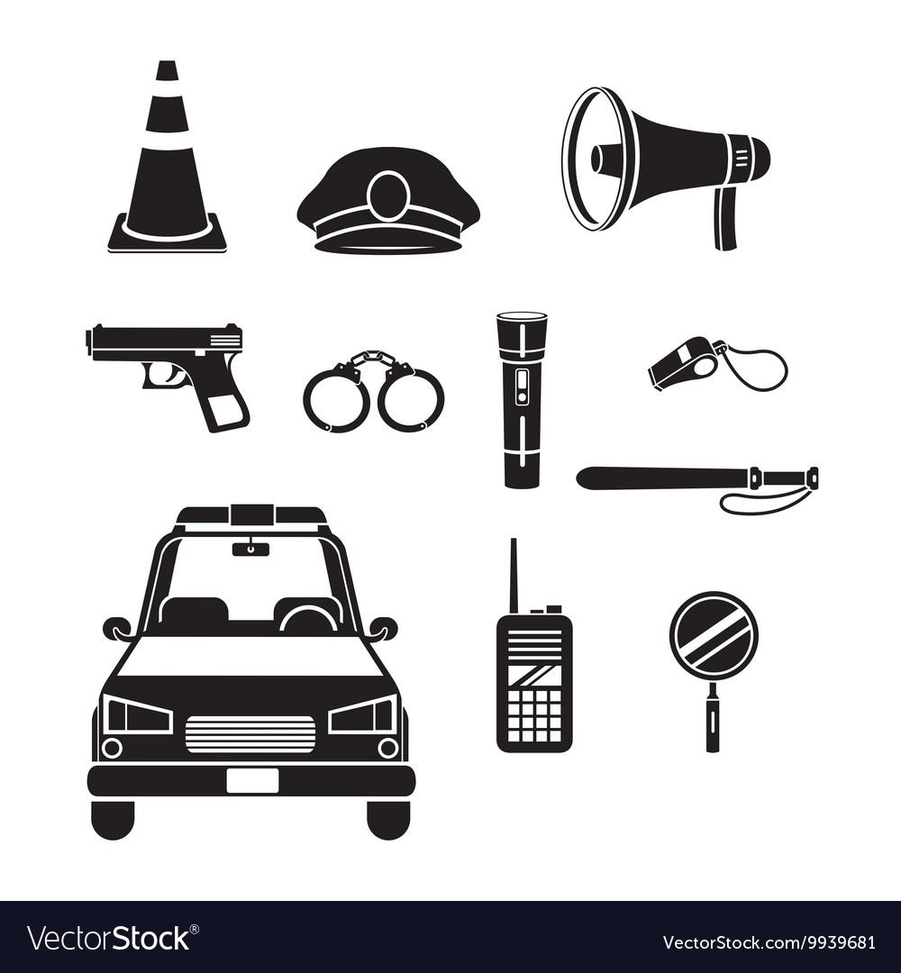 Police Icons Set Monochrome vector image