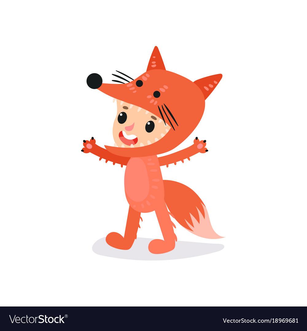 sc 1 st  VectorStock & Preschool kid dressed in fox costume boy or girl Vector Image