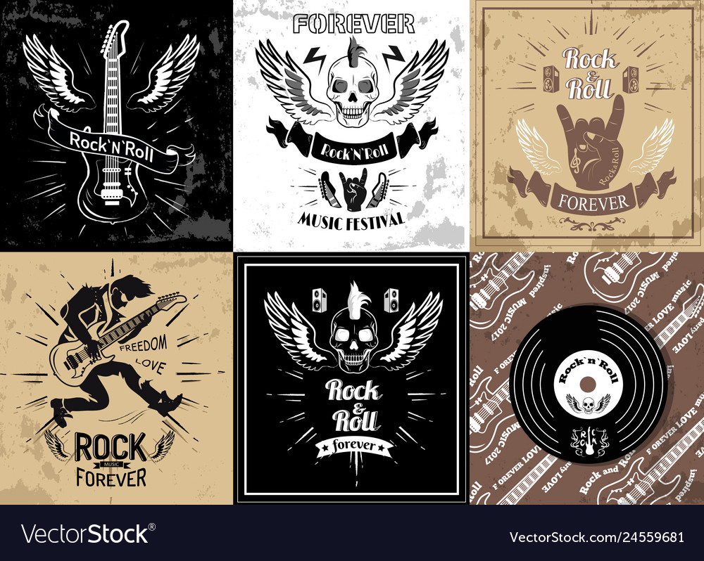 Rock and roll forever logotype sketches set