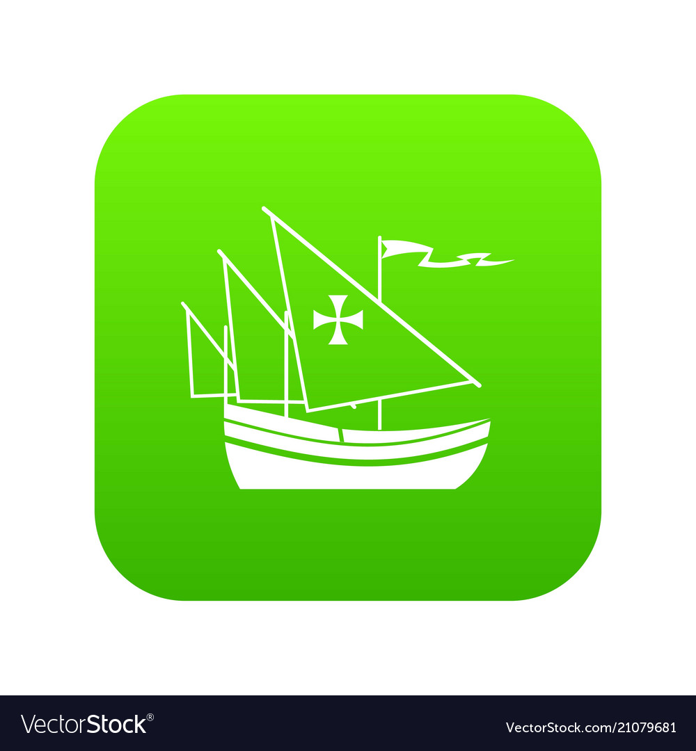 Ship of columbus icon digital green