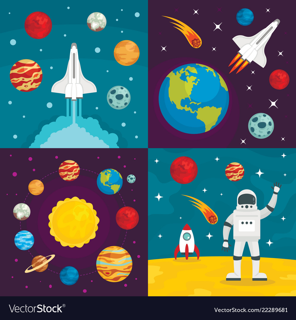 Space planets banner set flat style