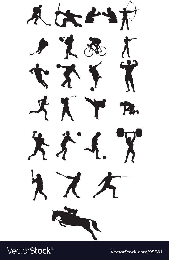 Sport icon silhouettes Royalty...