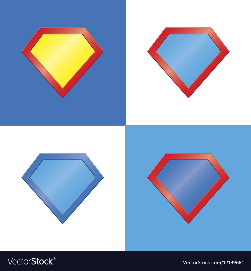 Superhero Logo Template Blank Super Hero Badge Set