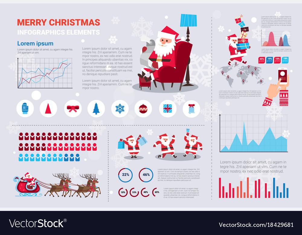 template christmas infographics set winter holiday