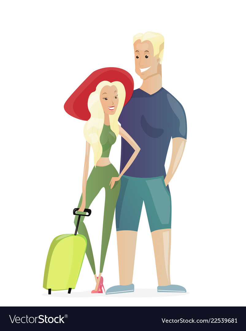 Traveling young couple with