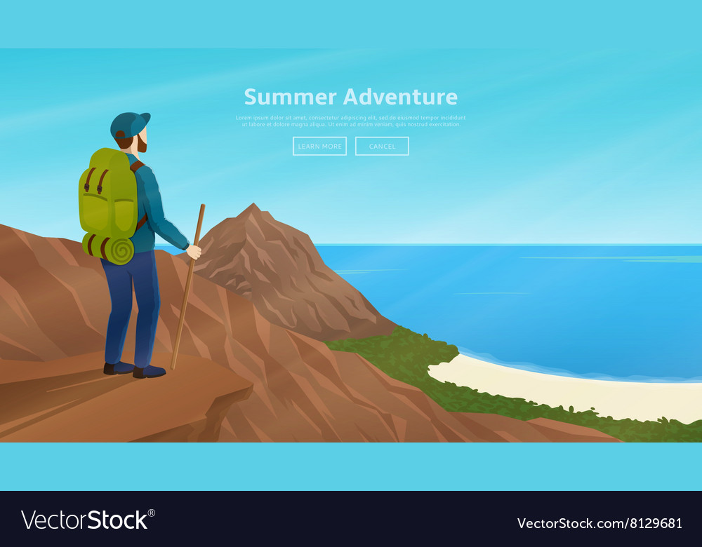 Web banner with traveller