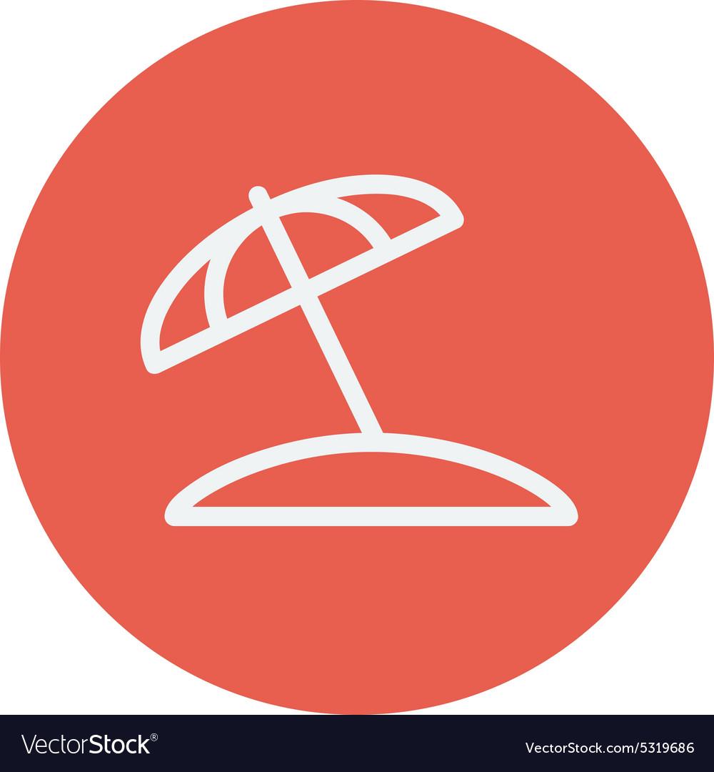 Beach umbrella thin line icon