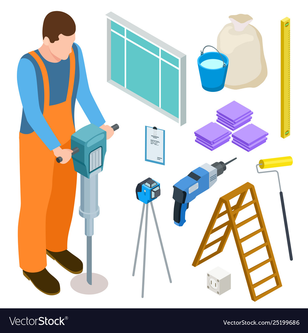 Builder and construction tools isometric