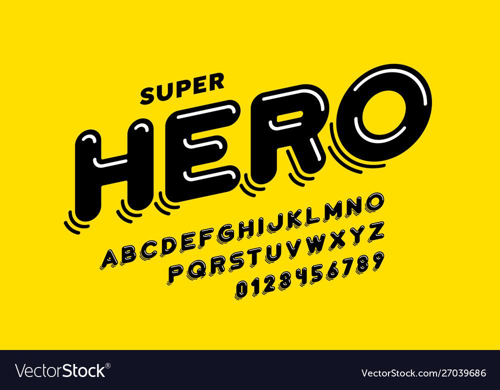 Comics style font design super hero alphabet