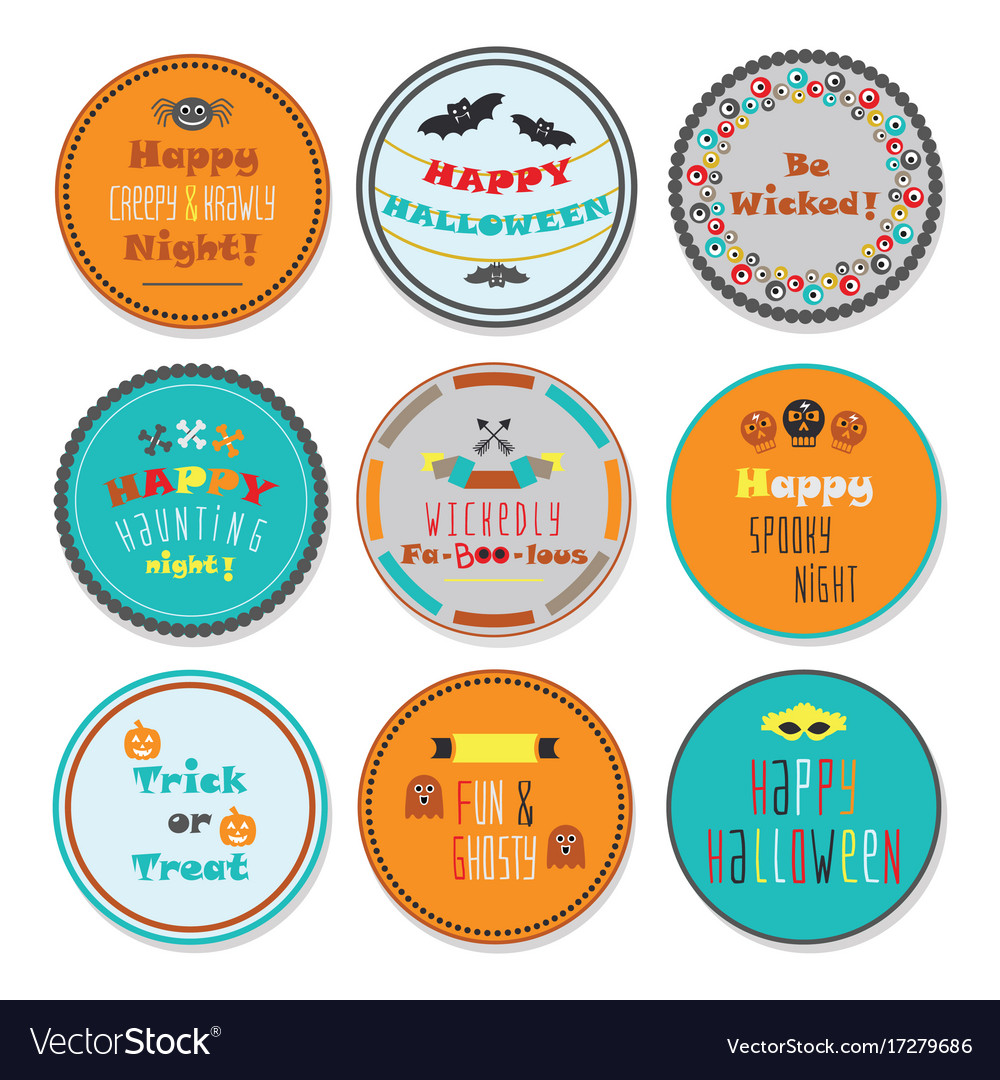 cute and colorful halloween circle labels set vector image