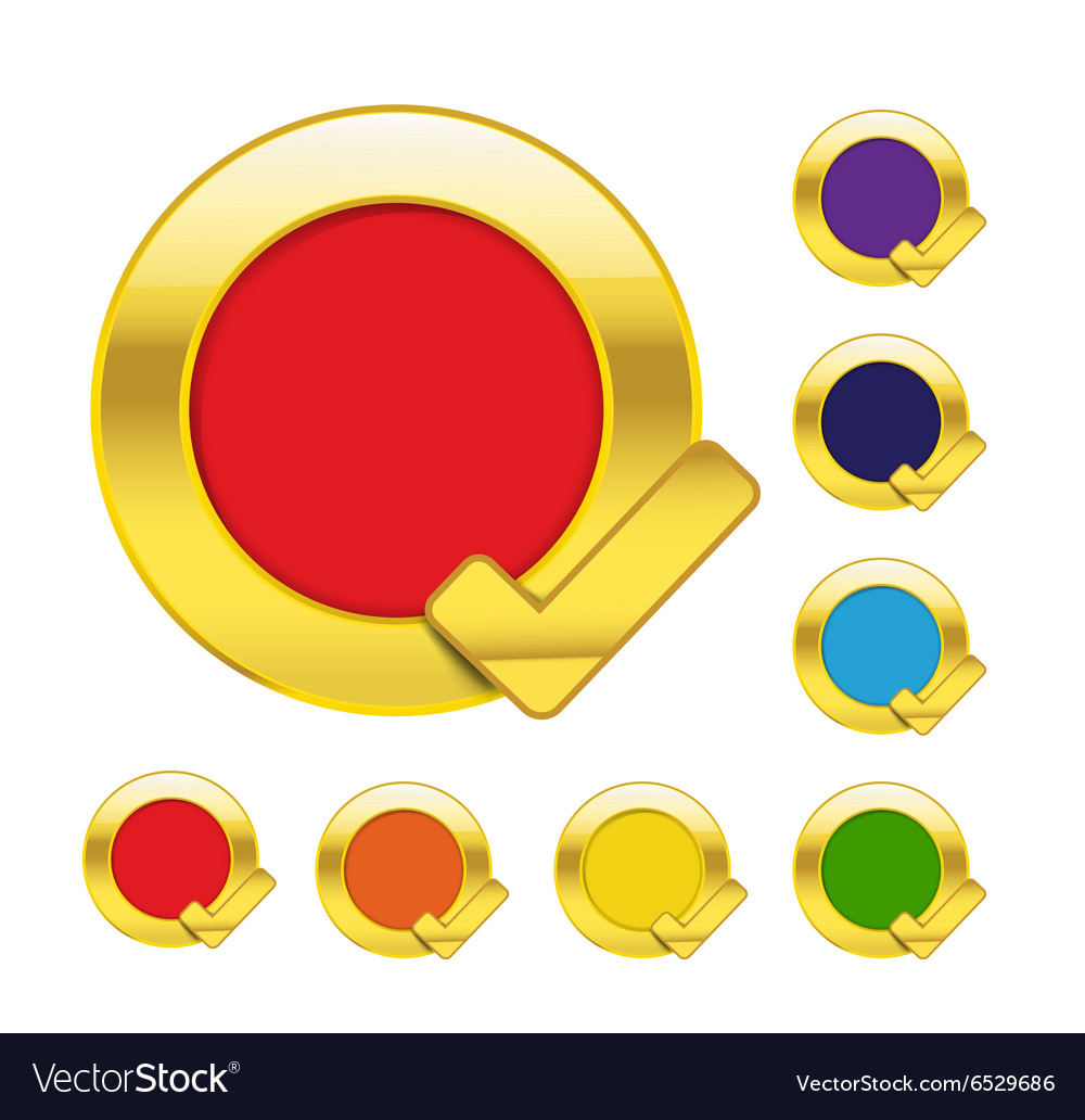 Gold circle and check mark blank icons isolated on