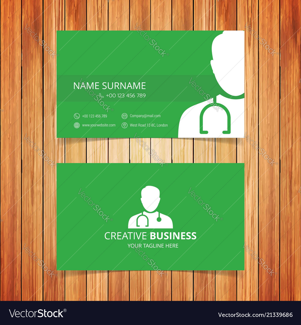 Green business card Royalty Free Vector Image - VectorStock