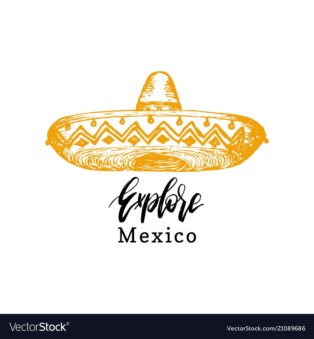 Handwritten phrase explore mexico vector image