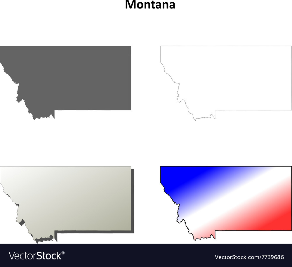 montana outline map set royalty free vector image