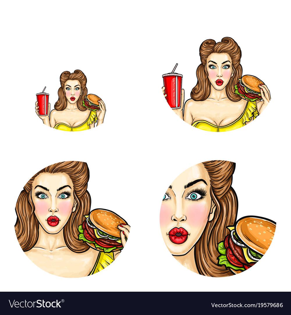 Pop art avatar of pin up girl holds