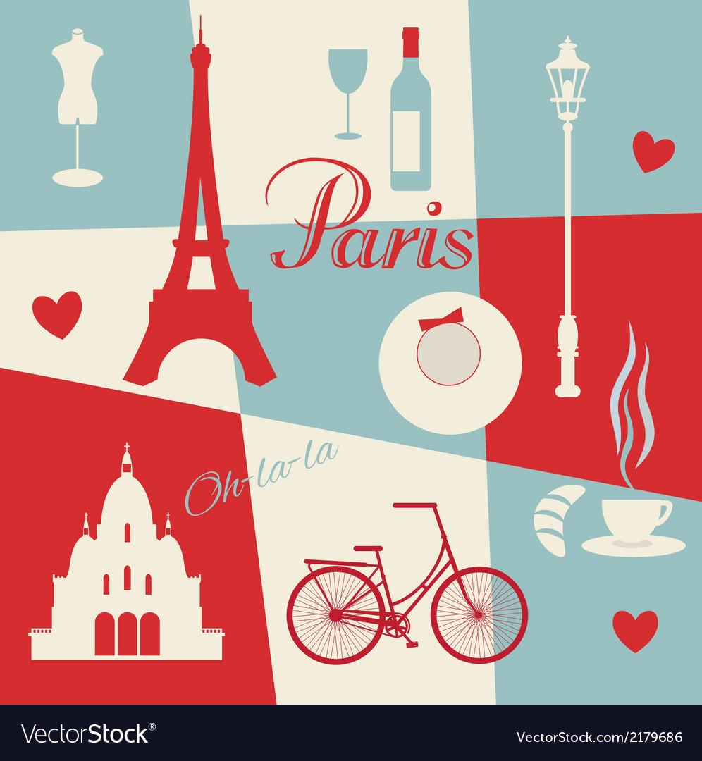 Retro style poster with Paris