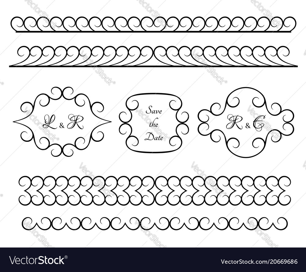 Set of vintage borders and vignettes vector image