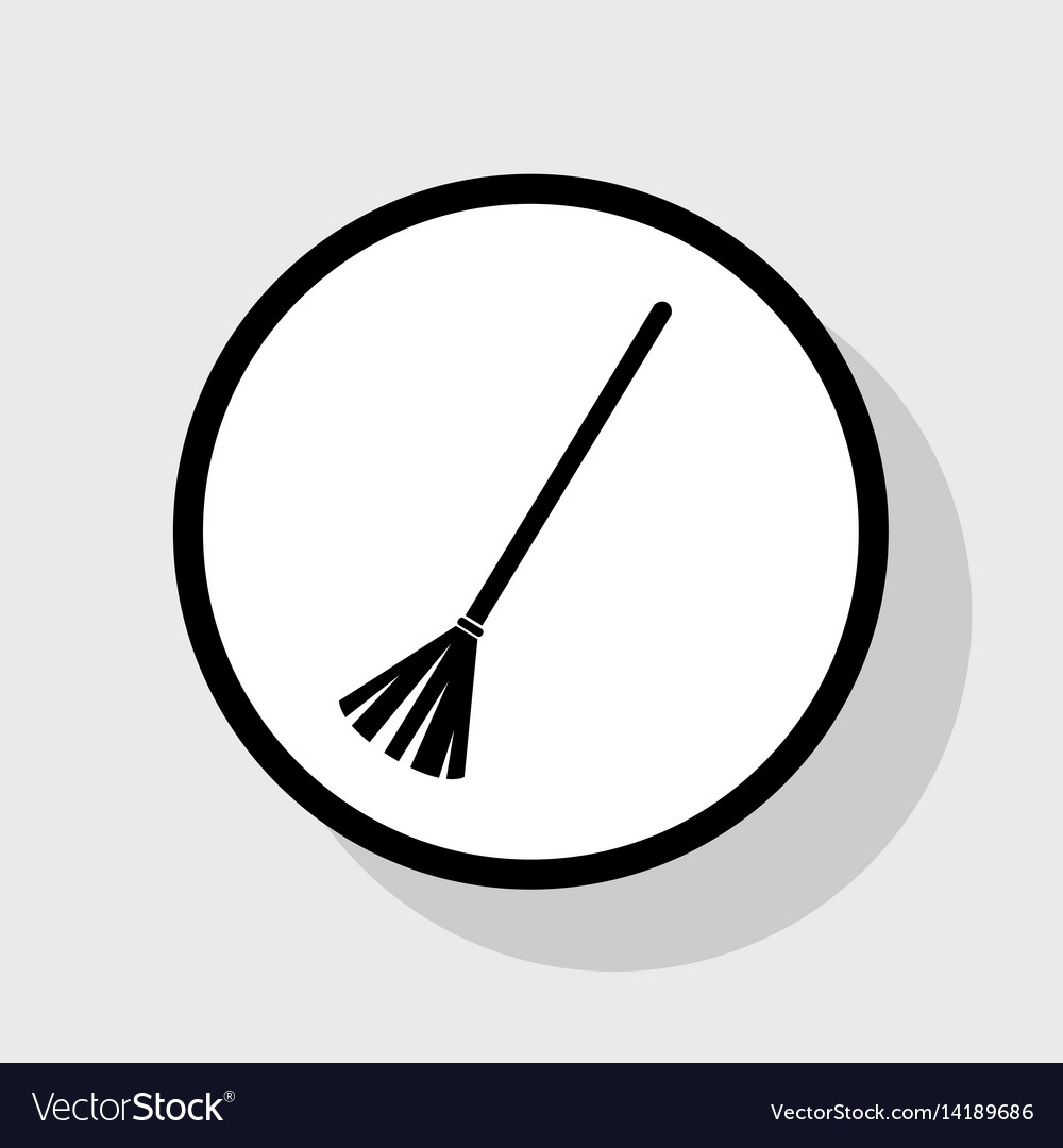 Sweeping broom sign flat black icon in