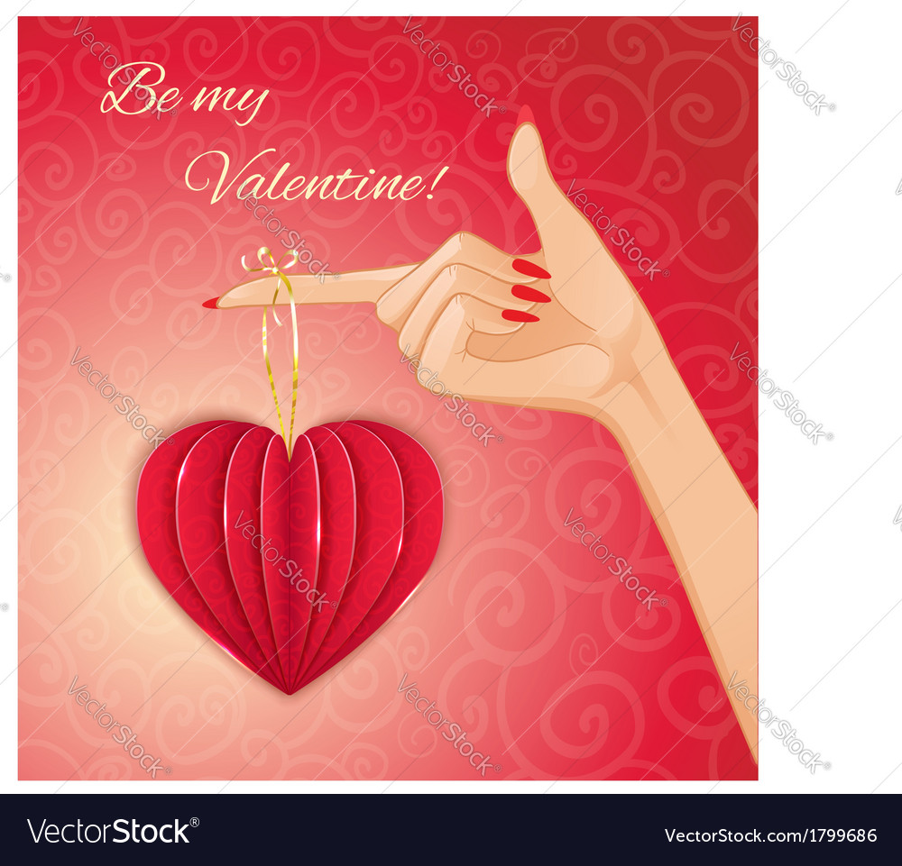 Woman hand with decorative paper red heart vector image