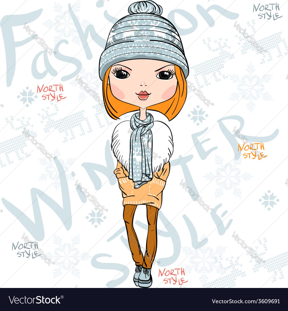 Beautiful fashion girl in winter
