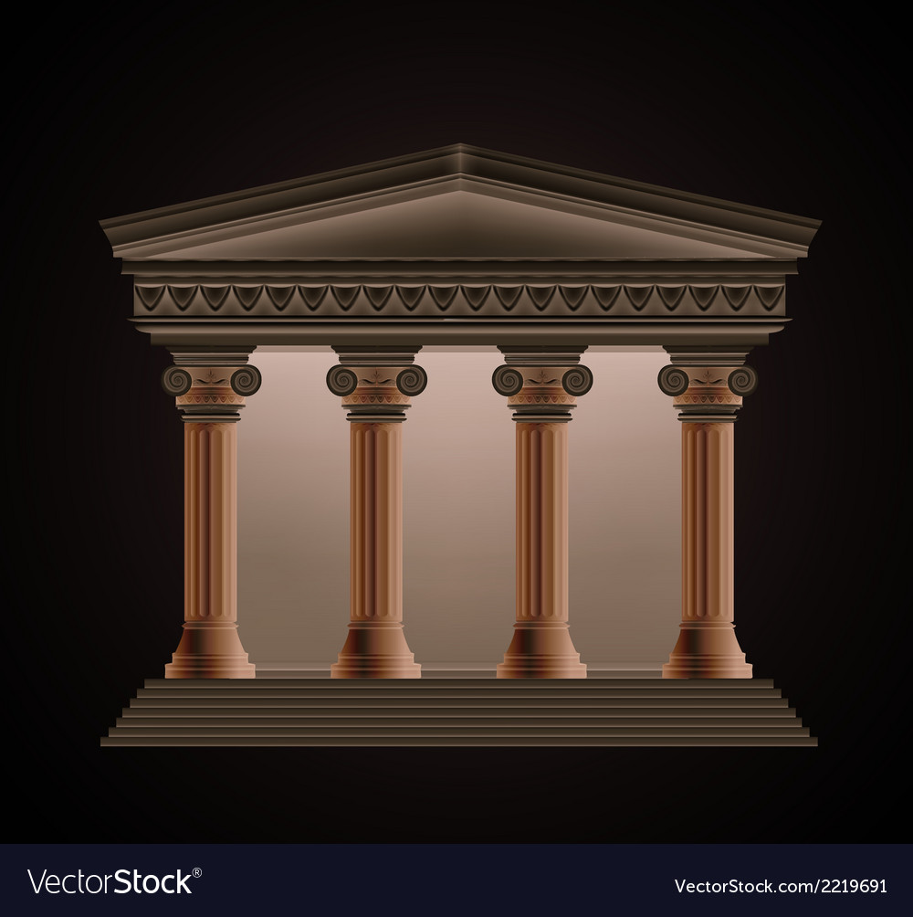 Front view of an antique greek temple in the