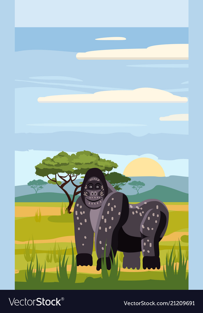 Gorillas cute cartoon style in background savannah