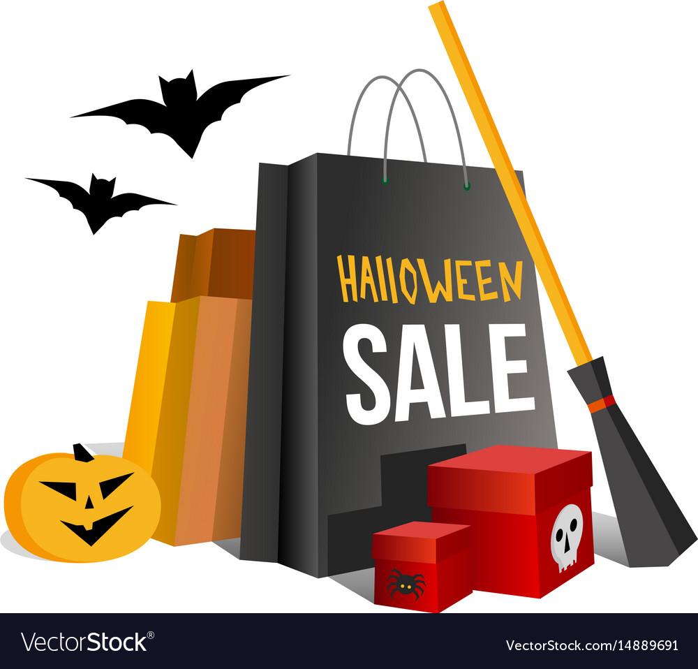 Halloween shopping paper bags and pumpkin