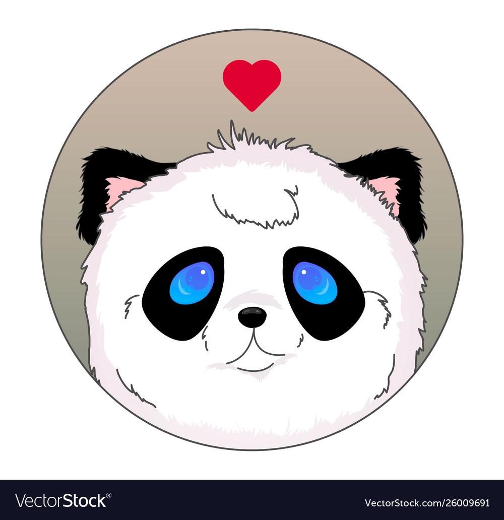 Panda head icon kawaii love