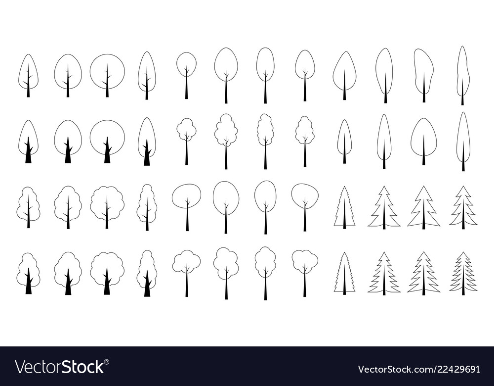 Seamless outline pattern christmas tree