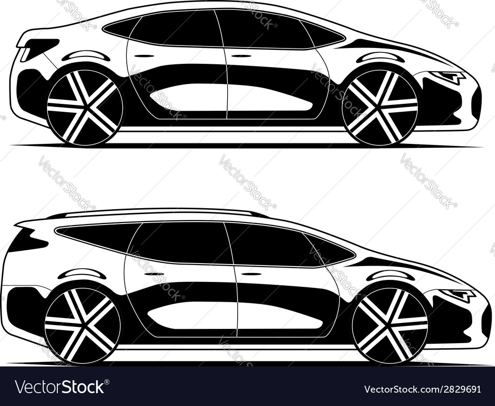 Silhouettes of cars isolated on white background vector image