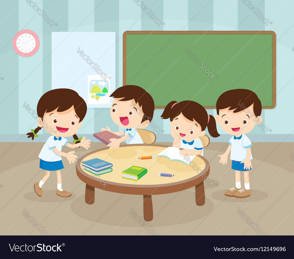Childrens activity in room vector image
