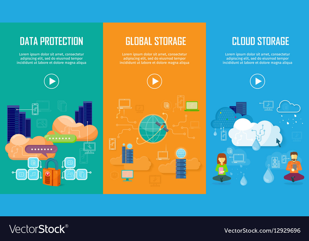 Data Protection Global and Cloud Storage Banners vector image
