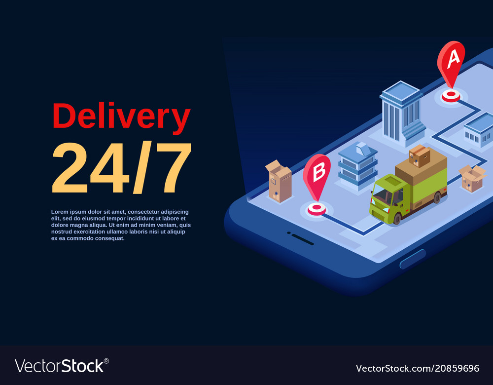 Delivery service app isometric