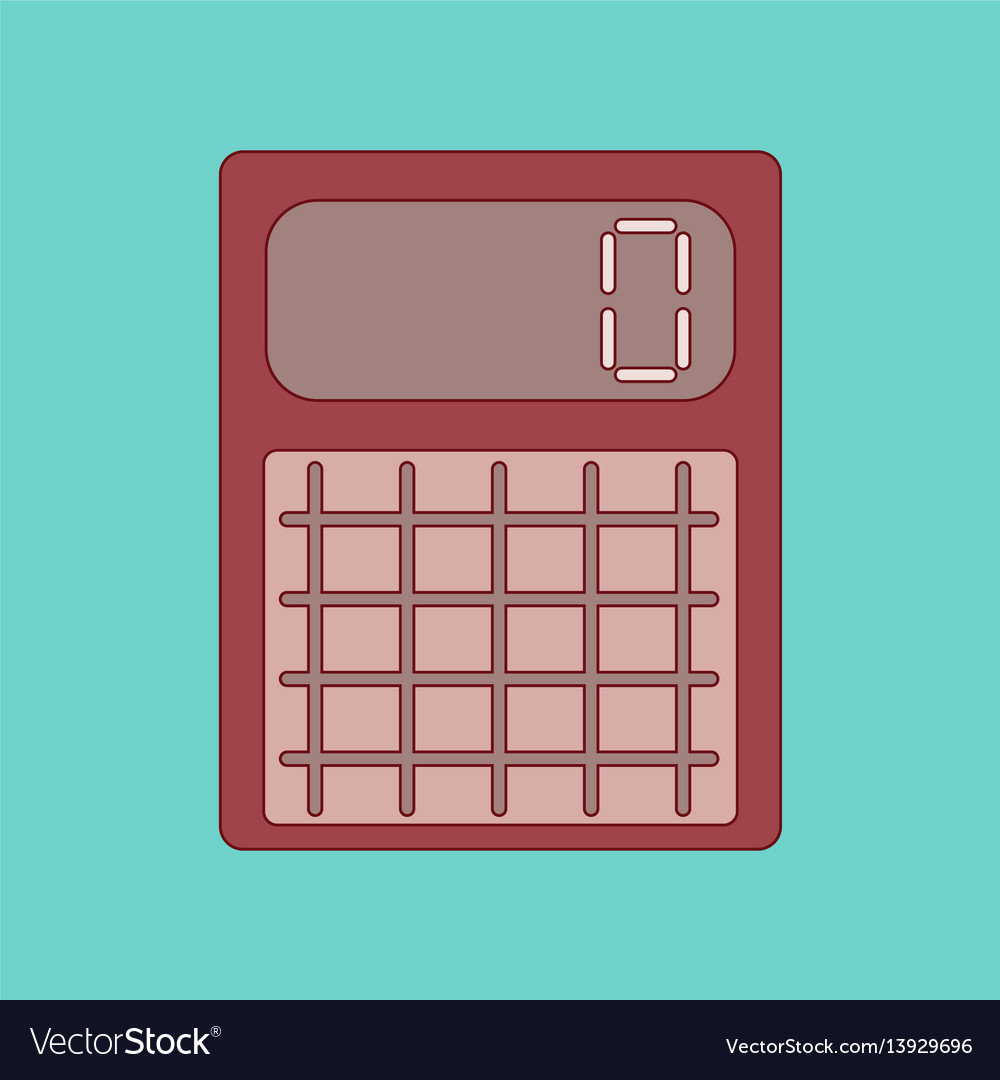 Flat icon with thin lines calculator