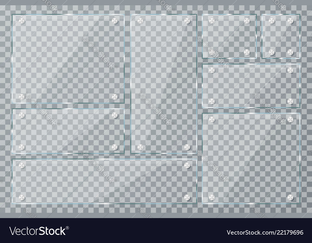 Glass plates on transparent background empty