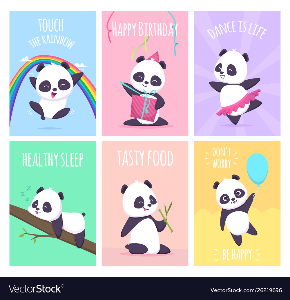 Panda cards cute little bear animals cover