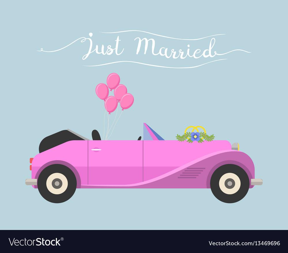 Retro cabrio car wedding just married vector image