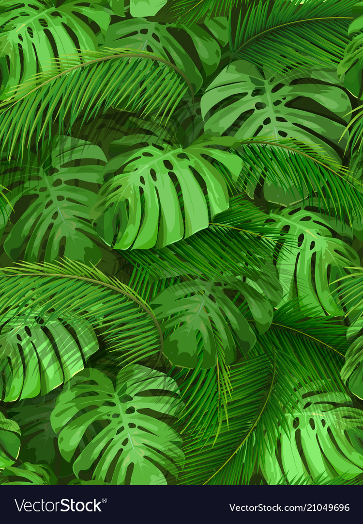Seamless background of tropical leaves vector image