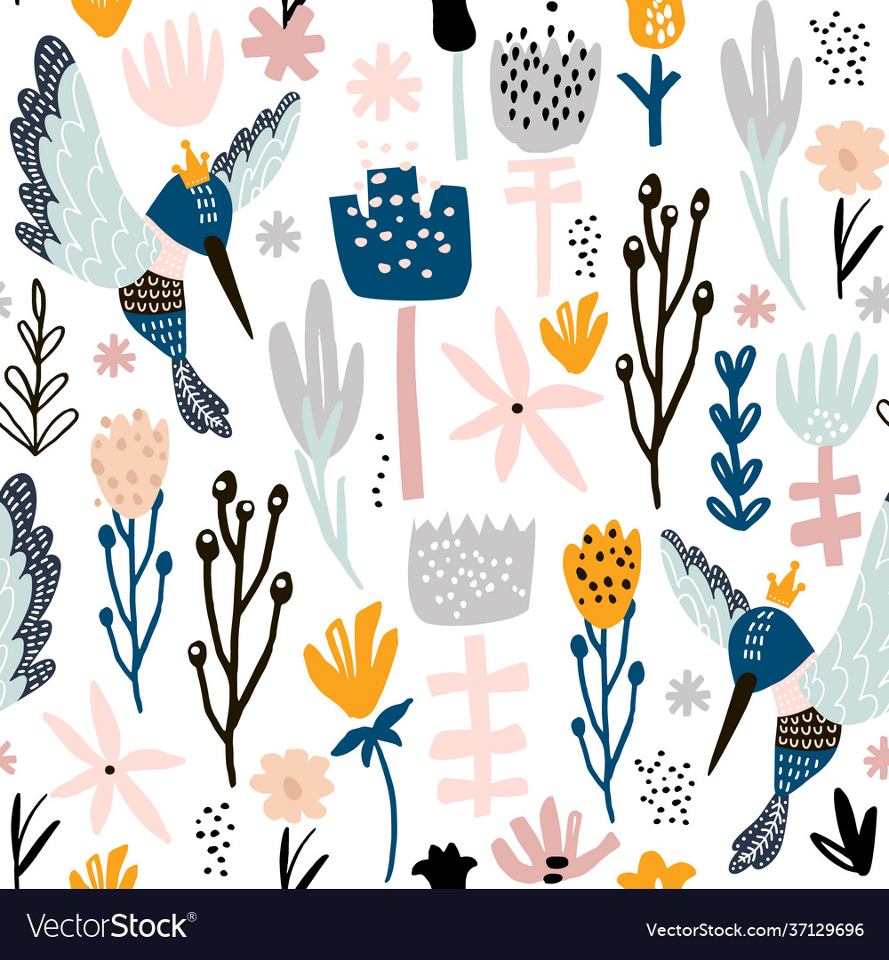 Seamless pattern with colibri and flowers